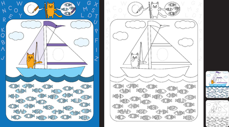 Preschool worksheet for practicing fine motor skills and recognizing letters - trace the letter on the sail - circle all fishes with letter O