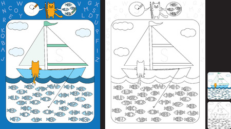 Preschool worksheet for practicing fine motor skills and recognizing letters - trace the letter on the sail - circle all fishes with letter S