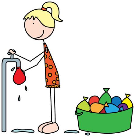 Cartoon illustration of a girl filling water balloons