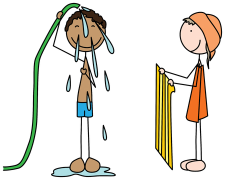Cartoon illustration of a boy taking shower and girl holding towel Illustration