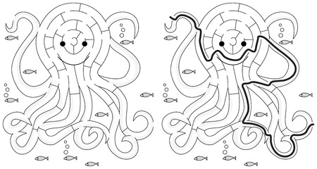 Easy octopus maze for younger kids with a solution in black and white