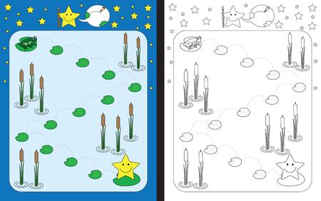 Preschool worksheet for practicing fine motor skills - tracing dashed lines from frog to little star Illusztráció