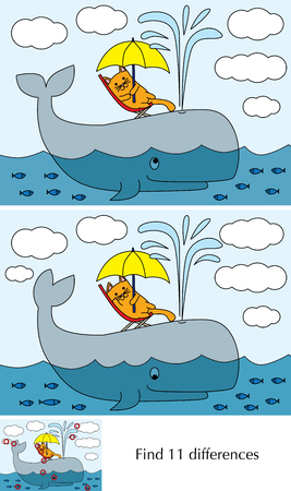 Educational game for preschool kids - finding differences - cartoon illustration of little cat on an whale with a solution.