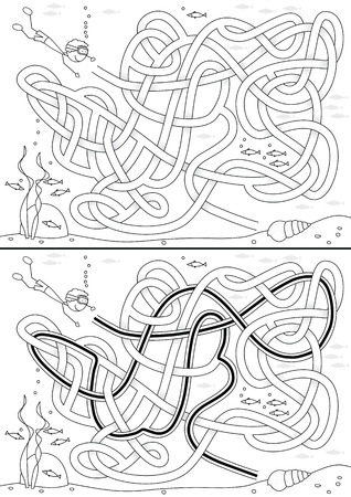 Undersea maze for kids with a solution in black and white