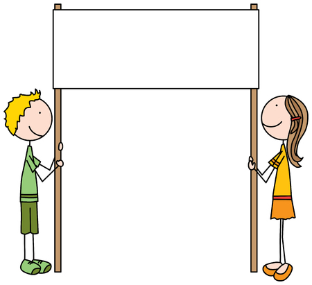 Illustrated cartoon kids holding blank sign