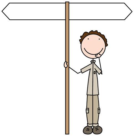 Illustrated cartoon kid standing below crossroad sign