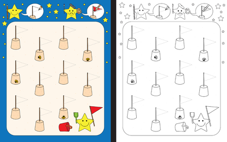 Preschool worksheet for practicing fine motor skills - tracing dashed lines of flags on sand castles