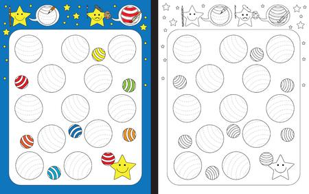 Preschool worksheet for practicing fine motor skills - tracing dashed lines on striped balls Illusztráció