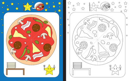 Preschool worksheet for practicing fine motor skills - tracing dashed lines - cut pizza in peaces