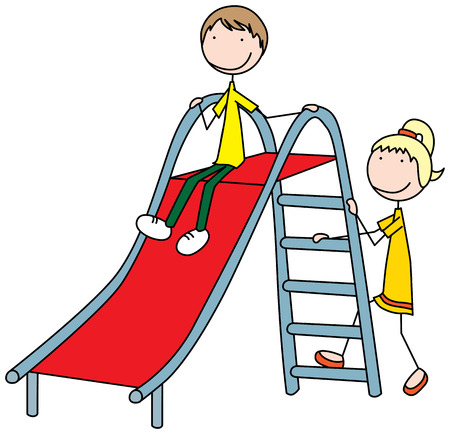 Cartoon illustration of a boy and girl on a slide