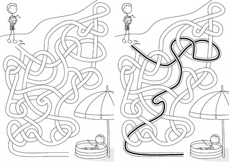 Happy kids on a beach - maze for kids with a solution in black and white