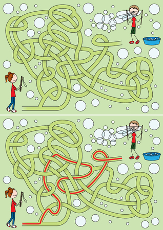 Happy kids blowing soap bubbles maze for kids with a solution Illustration