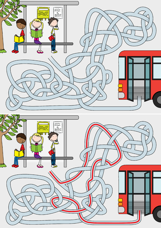Bus stop maze for kids with a solution