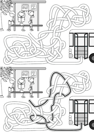 Bus stop maze for kids with a solution in black and white Illustration