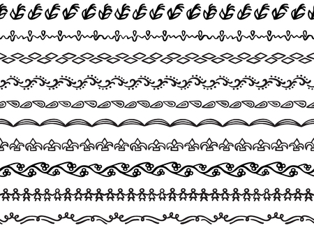 Set of ten illustrated decorative seamless borders made of hand drawn elements in black Illusztráció