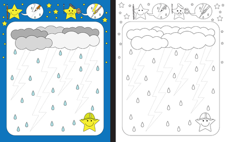 Preschool worksheet for practicing fine motor skills - tracing dashed lines of lightning bolts