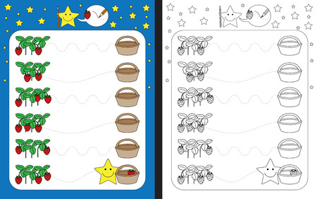 Preschool worksheet for practicing fine motor skills - tracing dashed lines from strawberries to basket