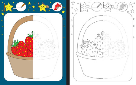 Preschool worksheet for practicing fine motor skills - tracing dashed lines - finish the illustration of strawberries in a basket Illusztráció