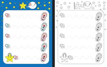 Preschool worksheet for practicing fine motor skills - tracing dashed lines from pacifiers to crying babies Vecteurs