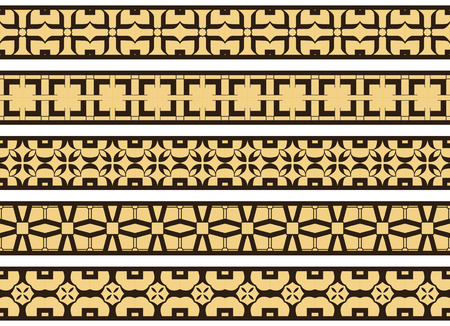 Set of five illustrated decorative borders made of abstract elements in pale yellow and black