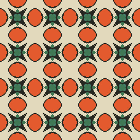 Seamless illustrated pattern made of abstract elements in beige,turquoise, orange, green and black Illustration