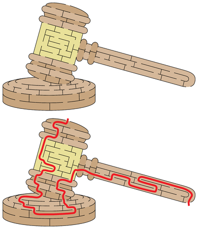 Easy gavel maze for younger kids with a solution