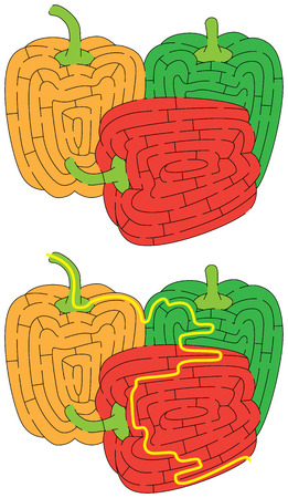 Tricolor bell peppers maze for younger kids with a solution Vektorgrafik
