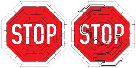 Stop road sign maze for kids with a solution Vetores