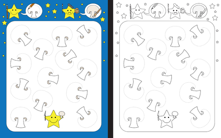 Preschool worksheet for practicing fine motor skills - tracing dashed lines of common mushroom slices Illusztráció
