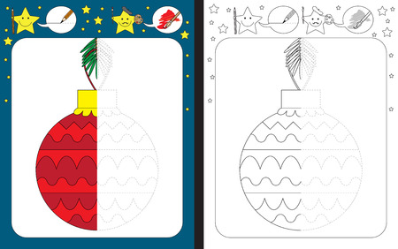 Preschool worksheet for practicing fine motor skills - tracing dashed lines - finish the illustration of a Christmas ornament