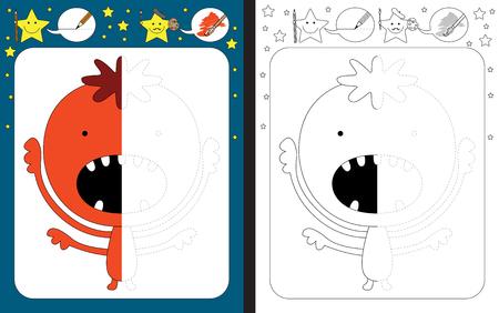 Preschool worksheet for practicing fine motor skills - tracing dashed lines - finish the illustration of orange little monster