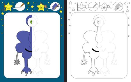 Preschool worksheet for practicing fine motor skills - tracing dashed lines - finish the illustration of purple little monster Illusztráció