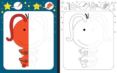 Preschool worksheet for practicing fine motor skills - tracing dashed lines - finish the illustration of orange little monster Vecteurs