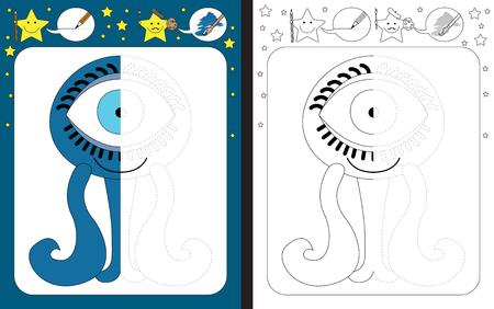 Feuille de travail préscolaire pour pratiquer la motricité fine - tracer des lignes en pointillés - terminer l'illustration du petit monstre bleu