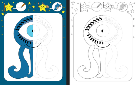 Preschool worksheet for practicing fine motor skills - tracing dashed lines - finish the illustration of blue little monster