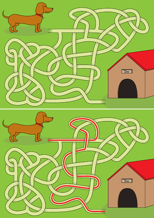 Dachshund maze for kids with a solution