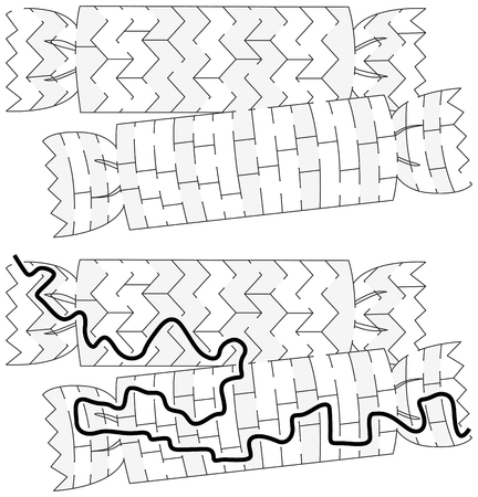 Christmas crakers maze for kids with a solution in black and white