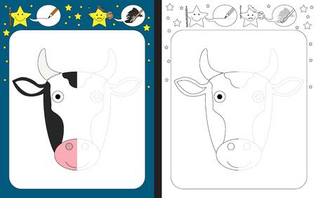 Hoja de trabajo preescolar para practicar la motricidad fina - trazar líneas discontinuas - terminar la ilustración de una vaca Ilustración de vector