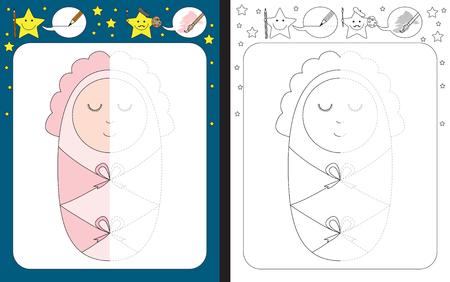 Hoja de trabajo preescolar para practicar la motricidad fina - trazar líneas discontinuas - terminar la ilustración de un bebé Ilustración de vector