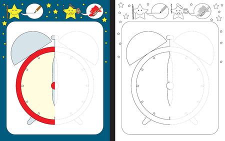 Feuille de travail préscolaire pour pratiquer la motricité fine - tracer des lignes pointillées - terminer l'illustration d'une horloge