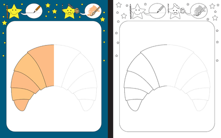 Preschool worksheet for practicing fine motor skills - tracing dashed lines - finish the illustration of a croissant