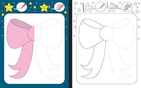 Preschool worksheet for practicing fine motor skills - tracing dashed lines - finish the illustration of a bow Ilustração