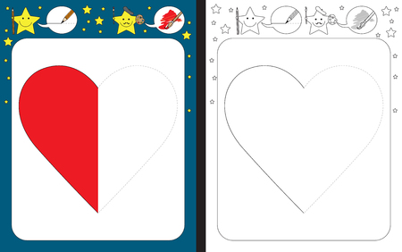Preschool worksheet for practicing fine motor skills - tracing dashed lines - finish the illustration of a heart