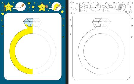 Hoja de trabajo preescolar para practicar la motricidad fina - trazar líneas discontinuas - terminar la ilustración de un anillo de diamantes Ilustración de vector