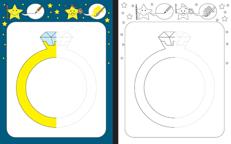 Preschool worksheet for practicing fine motor skills - tracing dashed lines - finish the illustration of a diamond ring Illusztráció