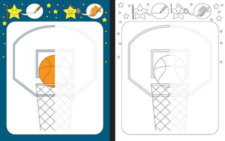 Hoja de trabajo preescolar para practicar la motricidad fina - trazar líneas discontinuas - terminar la ilustración de una pelota de baloncesto Ilustración de vector