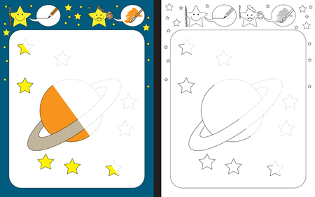 Preschool worksheet for practicing fine motor skills - tracing dashed lines - finish the illustration of a planet Vecteurs
