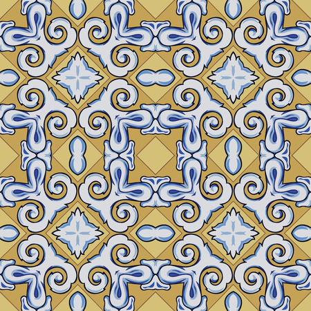 Seamless illustrated pattern made of abstract elements in white, yellow, brown, black and blue Vetores