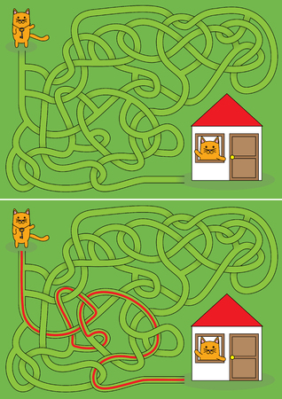 Little cat going home maze for kids with a solution