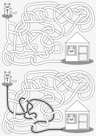 Little cat going home maze for kids with a solution in black and white